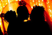 Bride and groom silhouette — Stock Photo