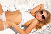 Blonde in underwear on white ground — Stock Photo