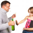 Drunk man gives an alcohol to schoolgirl. Isolated. - Stock Photo