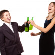 Stock Photo: Schoolchilds with alcohol and cigarette. Isolated.
