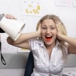 Office. Boss is screaming on secretary — Stock Photo