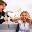 Boss is screaming on secretary - Stock Photo