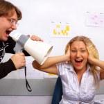 Boss is screaming on secretary — Stock Photo