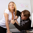 Flirt in office. - Photo