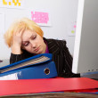 Business Woman has a headache — Stock Photo