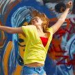 Girl is jumping and smiling — Stock Photo