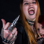 Goth girls. Fuck you — Stock Photo