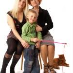babcia, matka, syn i kot — Zdjęcie stockowe