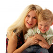 Foto Stock: Happy family: Mom and son.