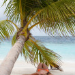 Stock Photo: Girl is lying under palm tree.