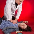 Stock Photo: Emergency actions, cardiac massage.