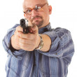 Cross-eyed Man  with pistol. Isolated. — Stock Photo