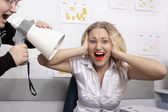 Office. Boss is screaming on secretary — Stock Photo