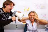 Boss is screaming on secretary — Stock Photo