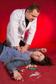 Emergency actions, cardiac massage. — Stock Photo