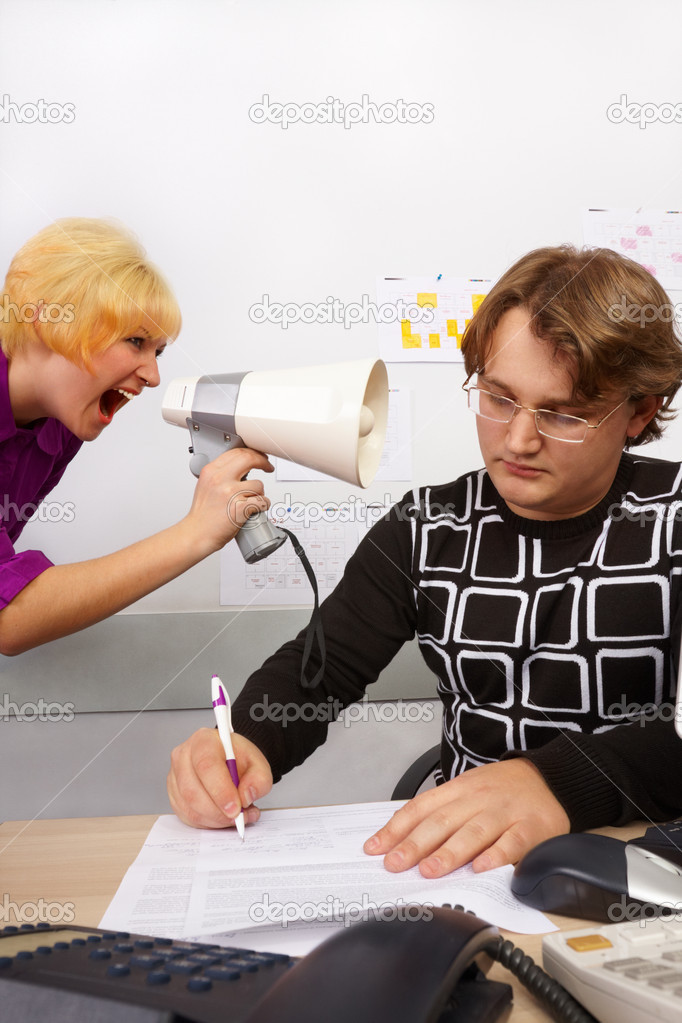 Girl is screaming for boss. But no effect. — Stock Photo #1394203