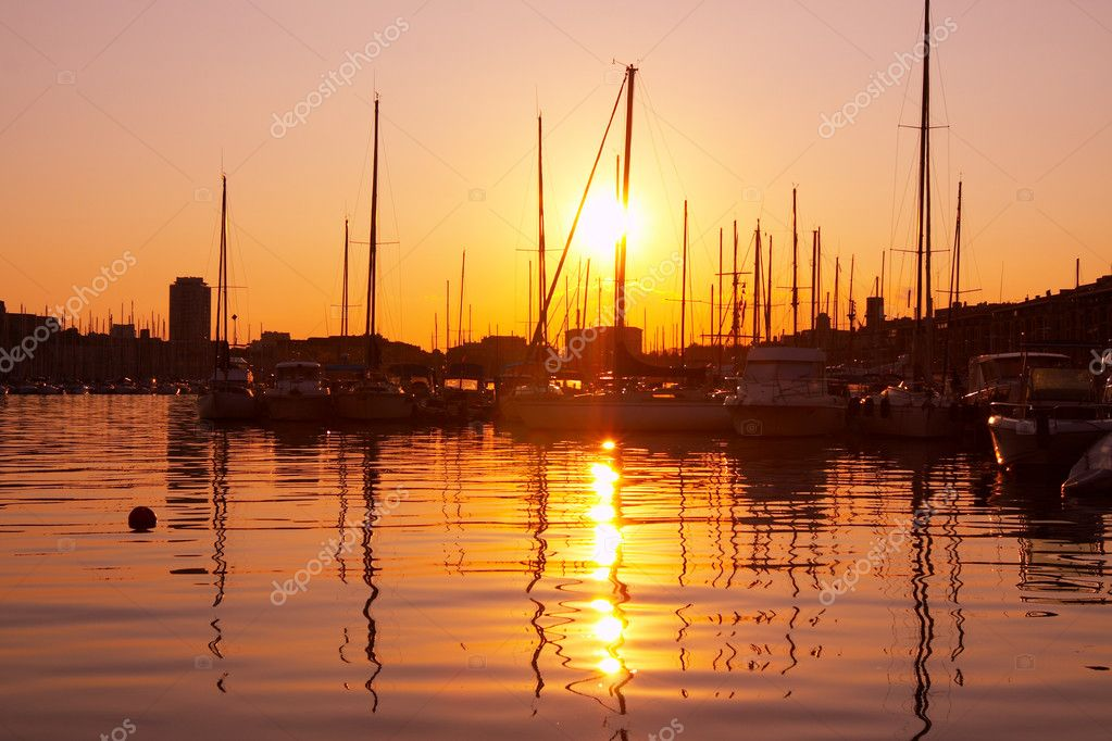 Port of Marseille in France. Romantic Sunset. — Stock Photo #1394487