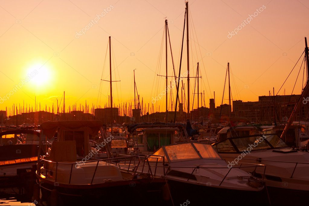 Port of Marseille in France. Romantic Sunset.  Stock Photo #1394580