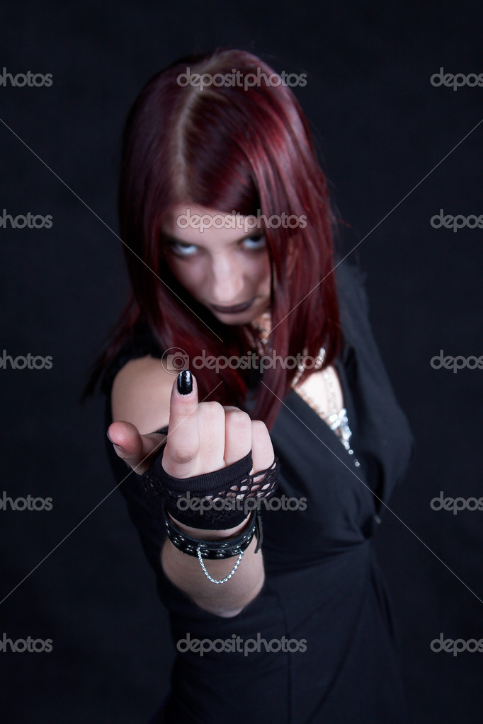 Goth girl. Come with me... See portfolio for more...  Stock Photo #1397920