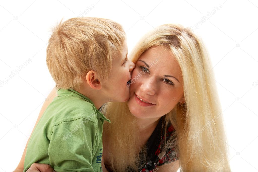 Happy family: Mom and son. Full isolated. See portfolio for more... — Stock Photo #1398224