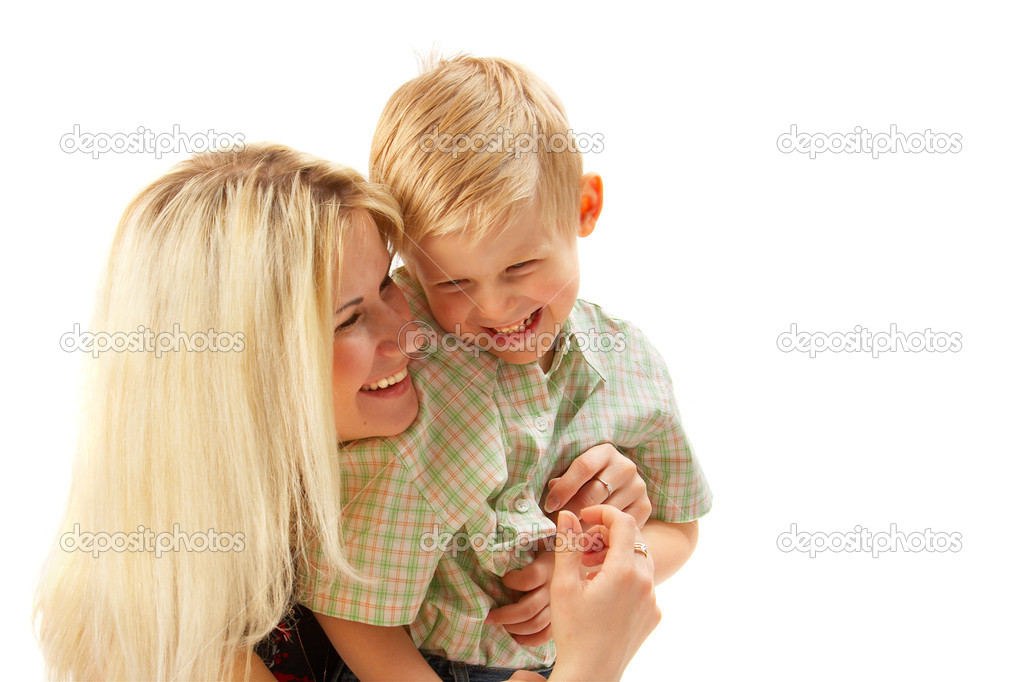 Happy family: Mom and son. Full isolated. See portfolio for more... — Stock Photo #1398307