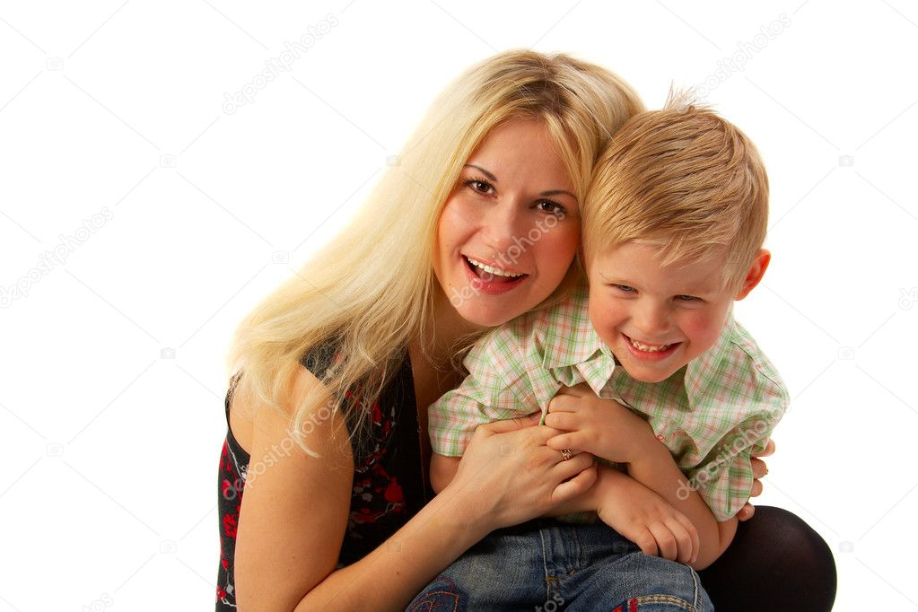 Happy family: Mom and son. Full isolated. See portfolio for more... — Stock Photo #1398316