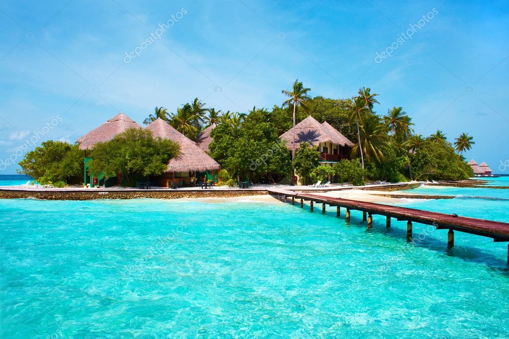 Island of Paradise. White sand beaches with coco-tree and crystal blue water. Maldives. Luxury holidays. High contrast.  Stock Photo #1399103