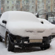 Cars under snowdrift. Siberia - Stock Photo
