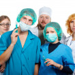 Stock Photo: Doctors teamwork. Isolated.