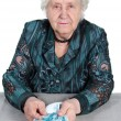 Rich Grandma with Russian money. — Stock Photo