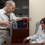 Boss puts pressure on Secretary. — Stock Photo