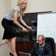 Sexy Lady manipulates a Boss — Stock Photo