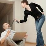 sexig sekreterare manipulerar en boss — Stockfoto