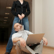 Sexy Secretary manipulates a Boss. — Stockfoto
