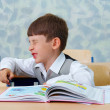 Elementary school. Lesson. Lazy boy. — Stock Photo #1402135