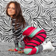 Girl in Zebra sexy style — Stock Photo