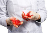 Operative surgery. Gloves in blood. — Stock Photo