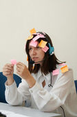 Busy Woman in melancholy — Stock Photo