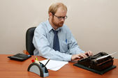 Man typing on Antique Typewriter! — Stock Photo