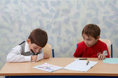 Classroom. Two contrast schoolboys — Stock Photo