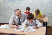 小学。教师和儿童 — 图库照片