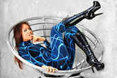 Futuristic girl in fashion chair — 图库照片