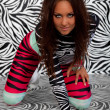 Cute girl in zebra fetish suit — Stock Photo #1590975