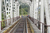 Through-girder railway bridge — Stock Photo