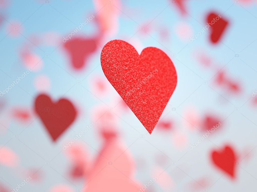 Flying hearts in blue sky — Stock Photo #1584528