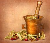 Old bronze mortar with herbs — Stock Photo