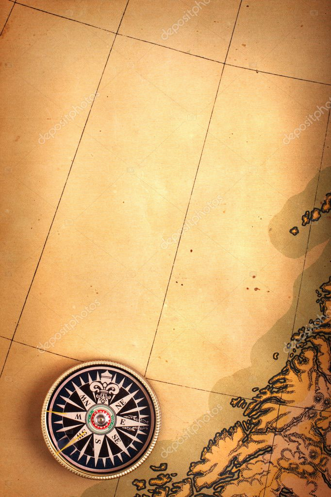 Compass on old map — ストック写真 #1379584