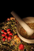 Mortar and pestle with herbs — Stock Photo
