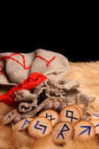 Runes and pouch with copy space — Stock Photo
