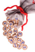 Runes and pouch isolated — Stock Photo